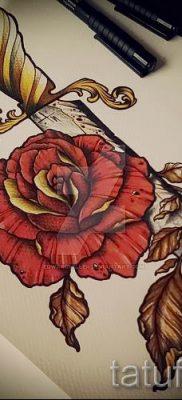 фото тату кинжал и роза пример для статьи про значение татуировки – tatufoto.ru – 14