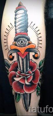 фото тату кинжал и роза пример для статьи про значение татуировки – tatufoto.ru – 31