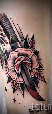 фото тату кинжал и роза пример для статьи про значение татуировки – tatufoto.ru – 43