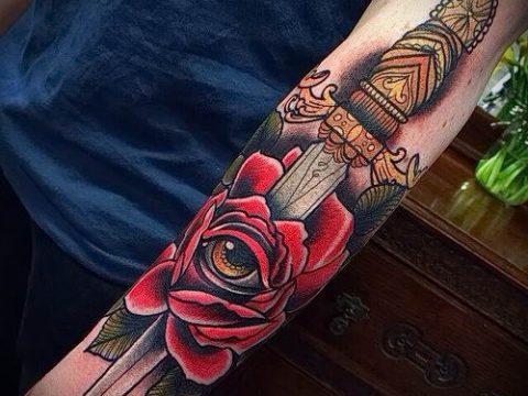 фото тату кинжал и роза пример для статьи про значение татуировки - tatufoto.ru - 49