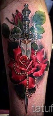 фото тату кинжал и роза пример для статьи про значение татуировки – tatufoto.ru – 51