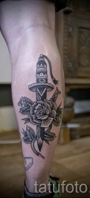 фото тату кинжал и роза пример для статьи про значение татуировки – tatufoto.ru – 56