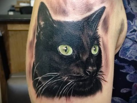 фото тату с черной кошкой для статьи про значение татуировки - tatufoto.ru - 49