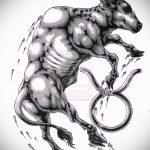 Прикольный эскиз для наколки с рисунком тельца – интересная идея для тату телец