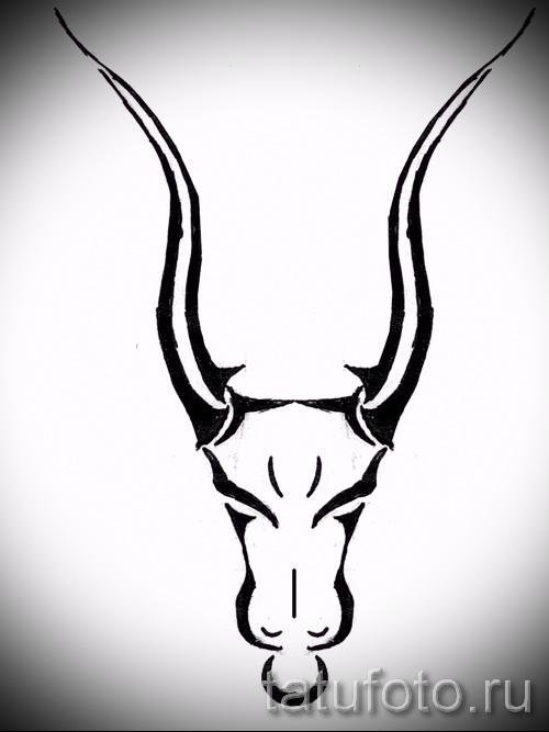 Интересны эскиз для тату с изображением тельца – классная идея для татуировки телец