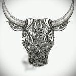 Прикольный эскиз для татуировки с изображением тельца – классная идея для тату телец