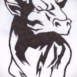 Интересны эскиз для тату с рисунком тельца – стильная идея для наколки телец