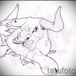 Прикольный эскиз для татуировки с рисунком тельца – интересная идея для татуировки телец