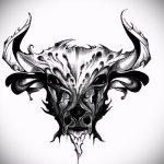Достойный эскиз для татуировки с изображением тельца – стильная идея для татуировки телец