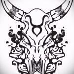 Интересны эскиз для татуировки с изображением тельца – интересная идея для наколки телец
