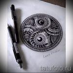 Крутой вариант рисунка тату – знак Инь-Янь, который подойдет для достойного эскиза тату инь-янь