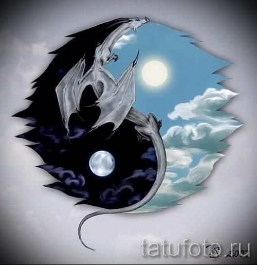 Приемлемый вариант рисунка тату – символ Инь-Янь, который подойдет для достойного эскиза татуировки инь-янь