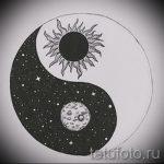 Классный вариант рисунка тату – знак Инь-Янь, который подойдет для классного эскиза тату инь-янь