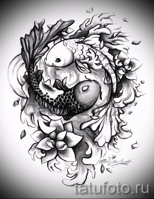Приемлемый вариант рисунка татуировки – символ Инь-Янь, который подойдет для классного эскиза татуировки инь-янь