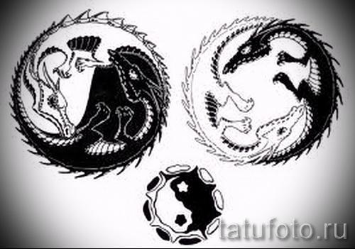 Классный вариант рисунка наколки – знак Инь-Янь, который подойдет для эксклюзивного эскиза татуировки инь-янь