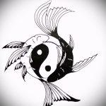 Приемлемый вариант рисунка татуировки – знак Инь-Янь, который подойдет для классного эскиза тату инь-янь