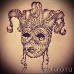 Необычный ваирант эскиза для тату маска - картинка для создания эксклюзивной татуировки с маской
