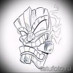 Необычный ваирант эскиза для тату маска - рисунок для создания эксклюзивной тату с маской