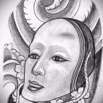 Классный ваирант эскиза для наколки маска - рисунок для создания интересной тату с маской
