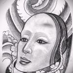 Интересный ваирант эскиза для тату маска - рисунок для создания интересной тату с маской