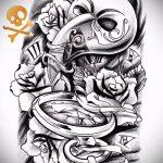 Достойный ваирант эскиза для татуировки маска - картинка для разработки стильной татуировки с маской