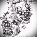 Зачетный ваирант эскиза для наколки маска - рисунок для разработки эксклюзивной татуировки с маской