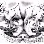 Необычный ваирант эскиза для татуировки маска - картинка для разработки интересной тату с маской