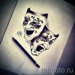 Интересный ваирант эскиза для наколки маска - картинка для создания интересной тату с маской