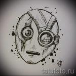 Классный ваирант эскиза для наколки маска - рисунок для разработки интересной тату с маской