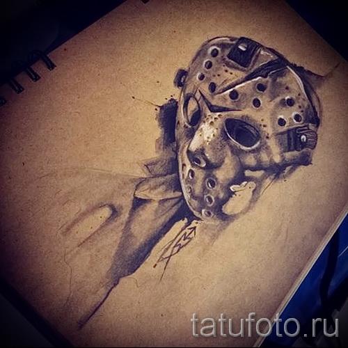 Зачетный ваирант эскиза для наколки маска - картинка для создания уникальной тату с маской