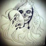 Интересный ваирант эскиза для татуировки маска - рисунок для разработки эксклюзивной татуировки с маской