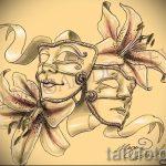 Интересный ваирант эскиза для татуировки маска - картинка для создания эксклюзивной тату с маской