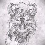 Крутой ваирант эскиза для наколки маска - рисунок для создания уникальной татуировки с маской