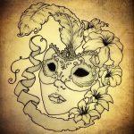 Необычный ваирант эскиза для татуировки маска - картинка для разработки эксклюзивной тату с маской