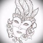 Крутой ваирант эскиза для наколки маска - рисунок для создания интересной тату с маской