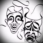 Необычный ваирант эскиза для татуировки маска - рисунок для создания стильной татуировки с маской