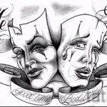 Зачетный ваирант эскиза для татуировки маска - рисунок для создания уникальной татуировки с маской