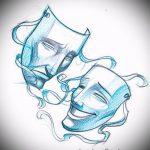 Классный ваирант эскиза для татуировки маска - рисунок для создания стильной тату с маской