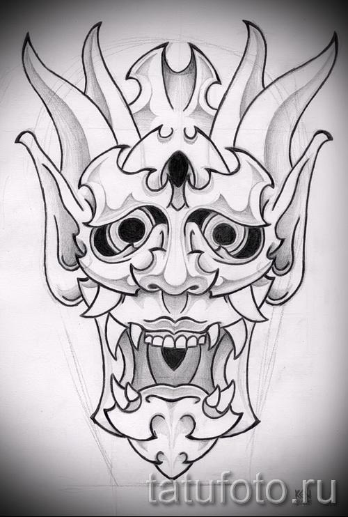 Необычный ваирант эскиза для наколки маска - картинка для создания эксклюзивной тату с маской