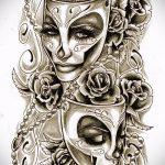 Крутой ваирант эскиза для наколки маска - рисунок для создания стильной татуировки с маской