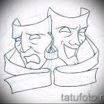Достойный ваирант эскиза для татуировки маска - картинка для разработки интересной тату с маской