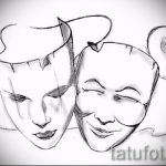 Интересный ваирант эскиза для наколки маска - рисунок для создания стильной татуировки с маской