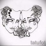 Необычный ваирант эскиза для татуировки маска - картинка для создания эксклюзивной татуировки с маской