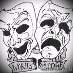 Интересный ваирант эскиза для татуировки маска - рисунок для разработки стильной тату с маской
