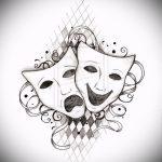 Необычный ваирант эскиза для тату маска - рисунок для создания интересной тату с маской