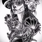 Классный ваирант эскиза для наколки маска - рисунок для разработки стильной тату с маской