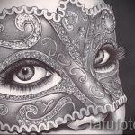 Интересный ваирант эскиза для тату маска - рисунок для разработки уникальной татуировки с маской