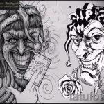 Необычный ваирант эскиза для тату маска - рисунок для разработки интересной тату с маской