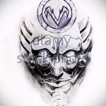 Интересный ваирант эскиза для татуировки маска - рисунок для разработки интересной тату с маской