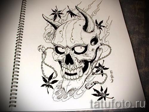 Необычный ваирант эскиза для тату маска - рисунок для создания стильной тату с маской